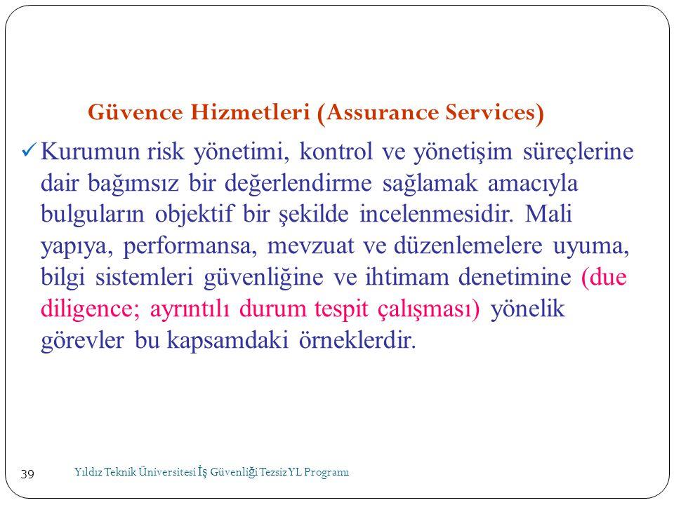39 Güvence Hizmetleri (Assurance Services)  Kurumun risk yönetimi, kontrol ve yönetişim süreçlerine dair bağımsız bir değerlendirme sağlamak amacıyla