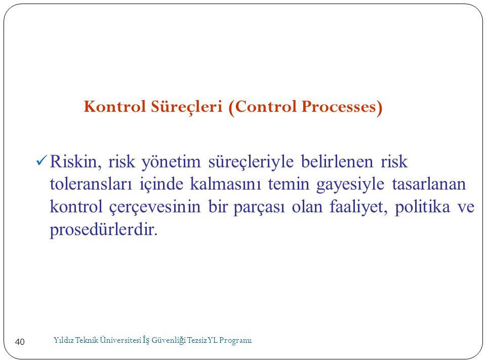 40 Kontrol Süreçleri (Control Processes)  Riskin, risk yönetim süreçleriyle belirlenen risk toleransları içinde kalmasını temin gayesiyle tasarlanan