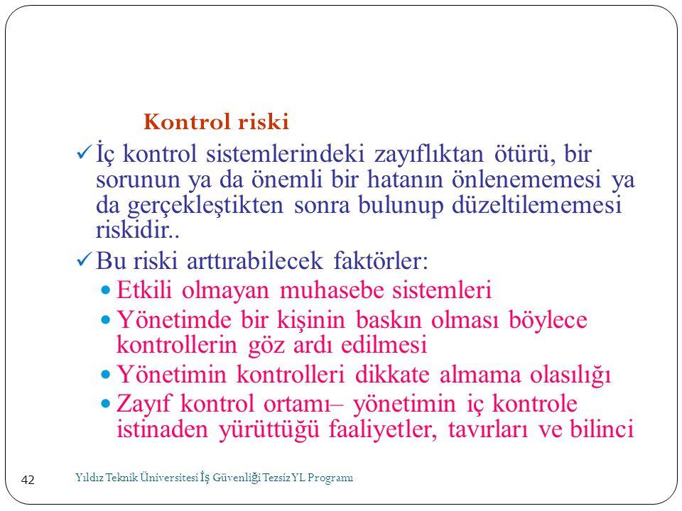 42 Kontrol riski  İç kontrol sistemlerindeki zayıflıktan ötürü, bir sorunun ya da önemli bir hatanın önlenememesi ya da gerçekleştikten sonra bulunup