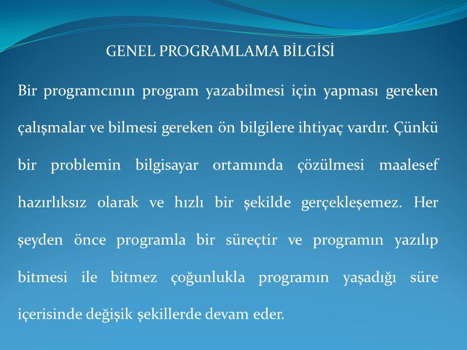 GENEL PROGRAMLAMA BİLGİSİ Bir programcının program yazabilmesi için yapması gereken çalışmalar ve bilmesi gereken ön bilgilere ihtiyaç vardır. Çünkü b