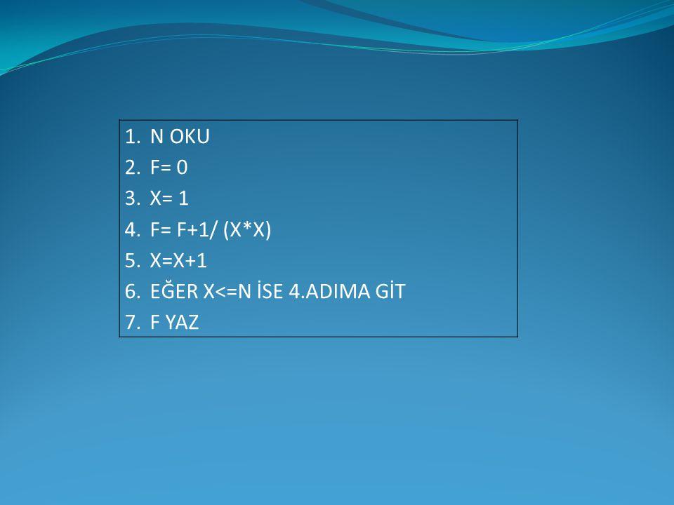 1.N OKU 2.F= 0 3.X= 1 4.F= F+1/ (X*X) 5.X=X+1 6.EĞER X<=N İSE 4.ADIMA GİT 7.F YAZ