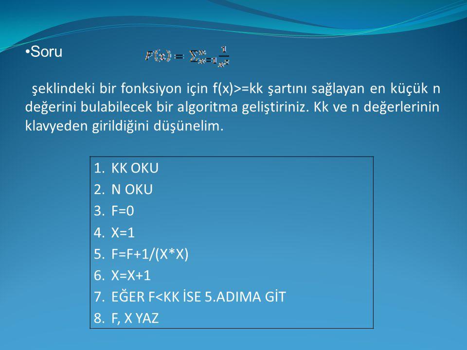 •Soru şeklindeki bir fonksiyon için f(x)>=kk şartını sağlayan en küçük n değerini bulabilecek bir algoritma geliştiriniz. Kk ve n değerlerinin klavyed