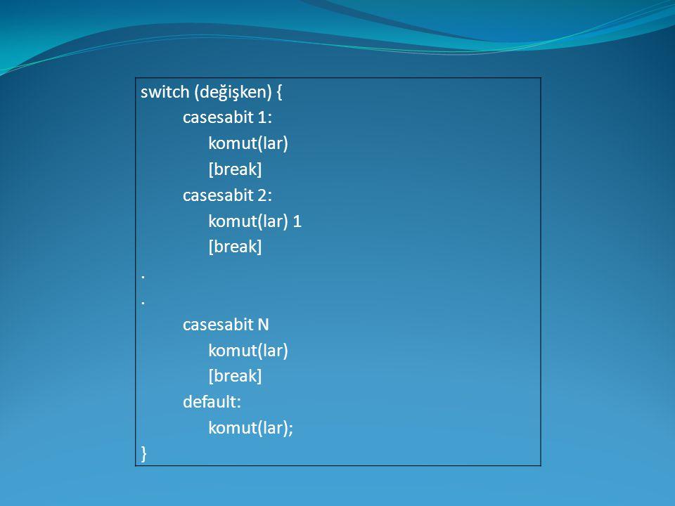 switch (değişken) { casesabit 1: komut(lar) [break] casesabit 2: komut(lar) 1 [break]. casesabit N komut(lar) [break] default: komut(lar); }