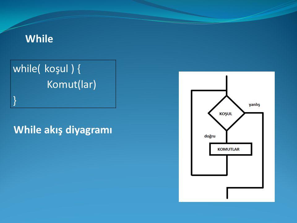 while( koşul ) { Komut(lar) } While While akış diyagramı