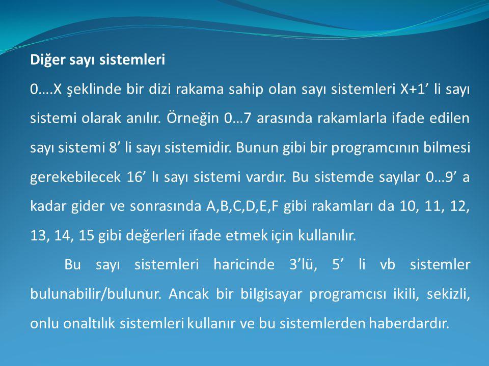 Diğer sayı sistemleri 0….X şeklinde bir dizi rakama sahip olan sayı sistemleri X+1' li sayı sistemi olarak anılır. Örneğin 0…7 arasında rakamlarla ifa