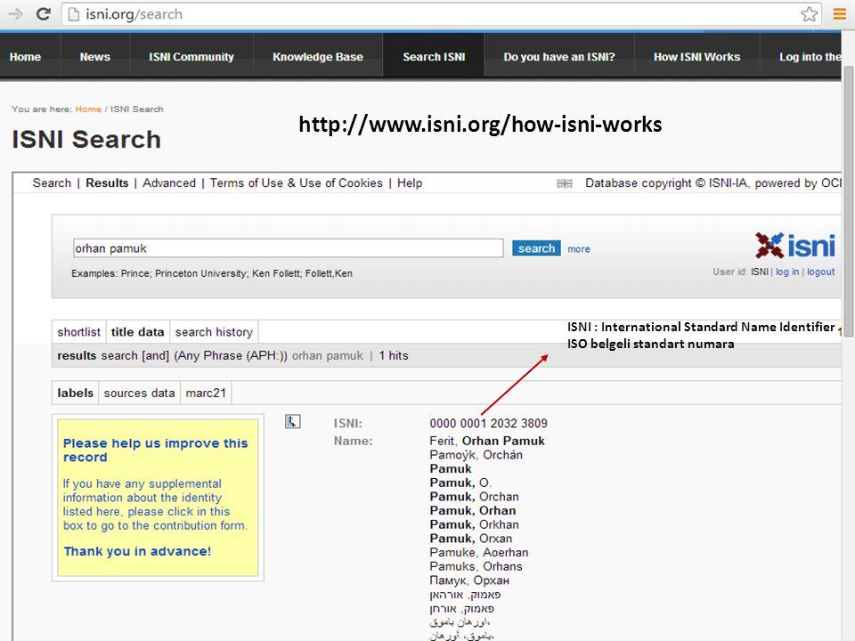 34 ISNI : International Standard Name Identifier ISO belgeli standart numara http://www.isni.org/how-isni-works