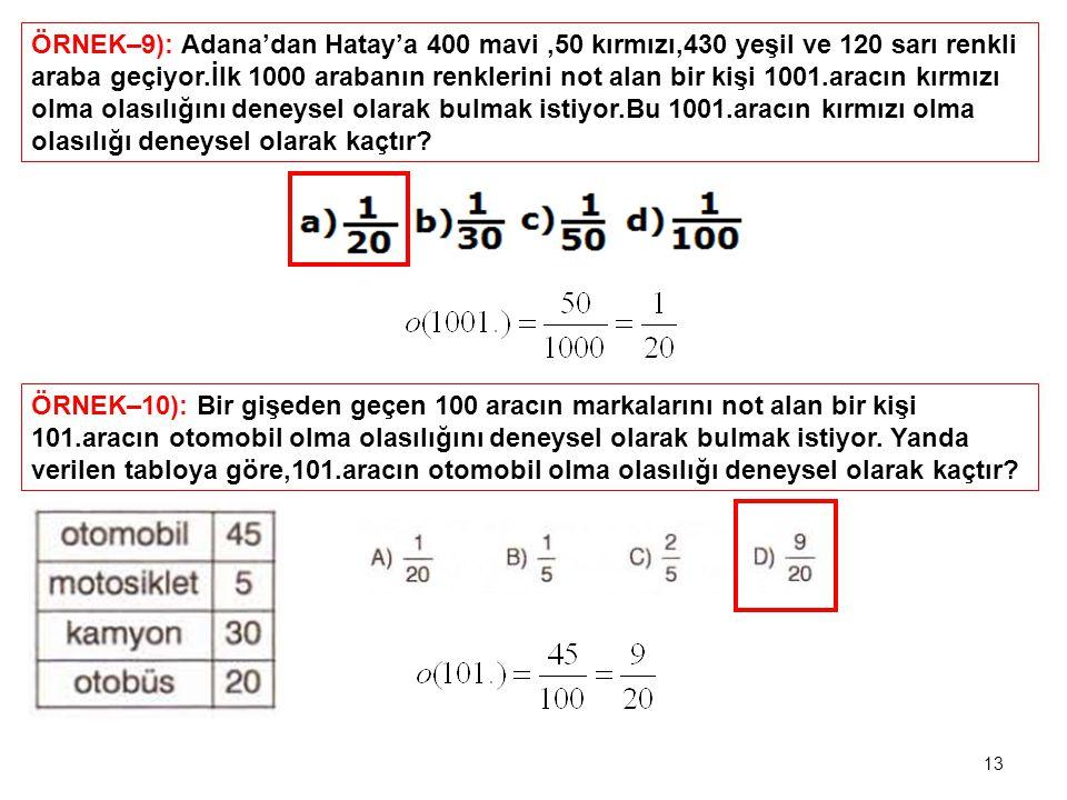ÖRNEK–9): Adana'dan Hatay'a 400 mavi,50 kırmızı,430 yeşil ve 120 sarı renkli araba geçiyor.İlk 1000 arabanın renklerini not alan bir kişi 1001.aracın