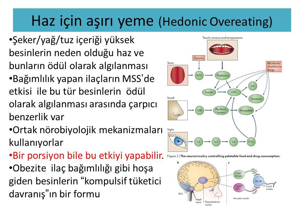 Haz için aşırı yeme (Hedonic Overeating) • Şeker/yağ/tuz içeriği yüksek besinlerin neden olduğu haz ve bunların ödül olarak algılanması • Bağımlılık yapan ilaçların MSS'de etkisi ile bu tür besinlerin ödül olarak algılanması arasında çarpıcı benzerlik var • Ortak nörobiyolojik mekanizmaları kullanıyorlar • Bir porsiyon bile bu etkiyi yapabilir.