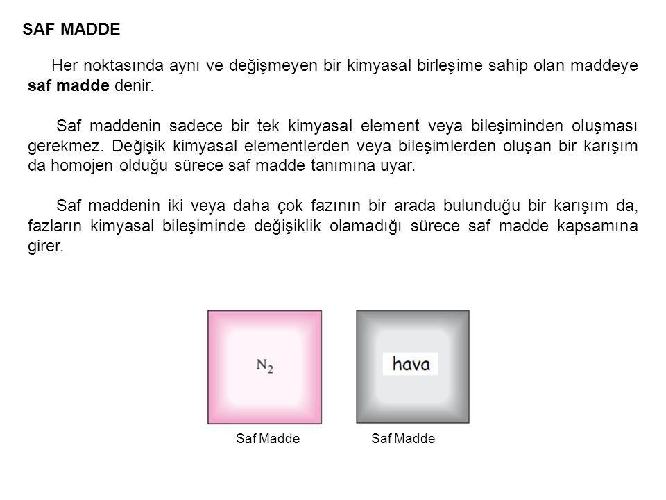 SAF MADDE Her noktasında aynı ve değişmeyen bir kimyasal birleşime sahip olan maddeye saf madde denir. Saf maddenin sadece bir tek kimyasal element ve