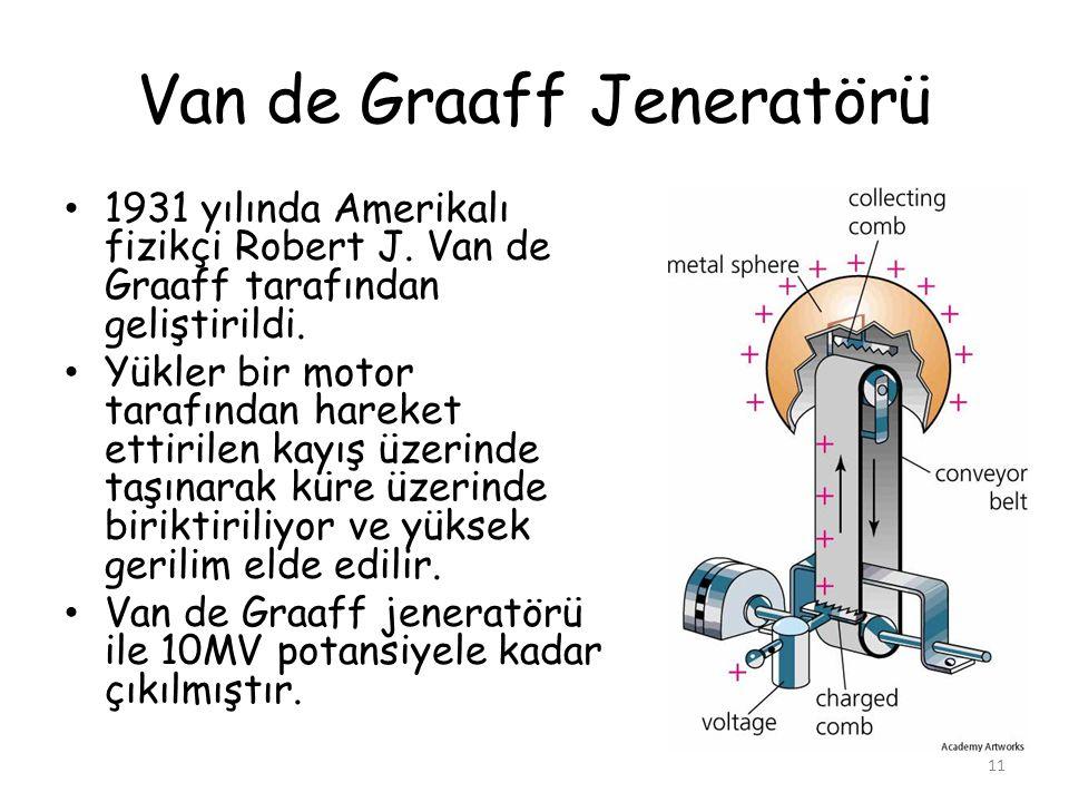 Van de Graaff Jeneratörü • 1931 yılında Amerikalı fizikçi Robert J. Van de Graaff tarafından geliştirildi. • Yükler bir motor tarafından hareket ettir