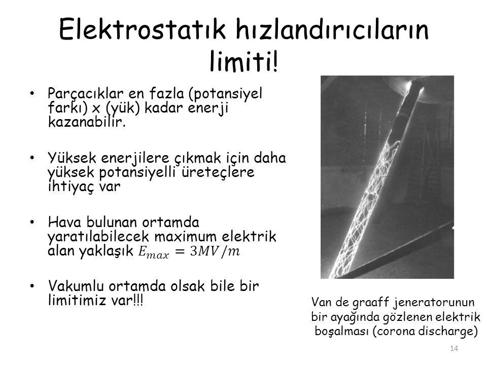 Elektrostatık hızlandırıcıların limiti! 14 Van de graaff jeneratorunun bir ayağında gözlenen elektrik boşalması (corona discharge)