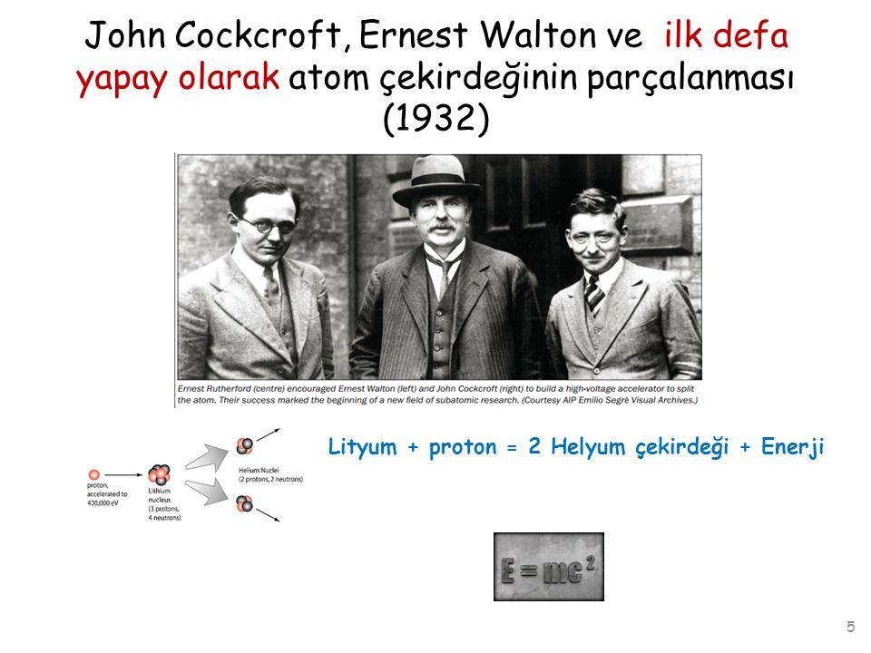 John Cockcroft, Ernest Walton ve ilk defa yapay olarak atom çekirdeğinin parçalanması (1932) Lityum + proton = 2 Helyum çekirdeği + Enerji 6 Hızlandırıcılar bu deneyden sonra parçacık fizikçilerinin vazgeçilmez oyuncağı oldu!