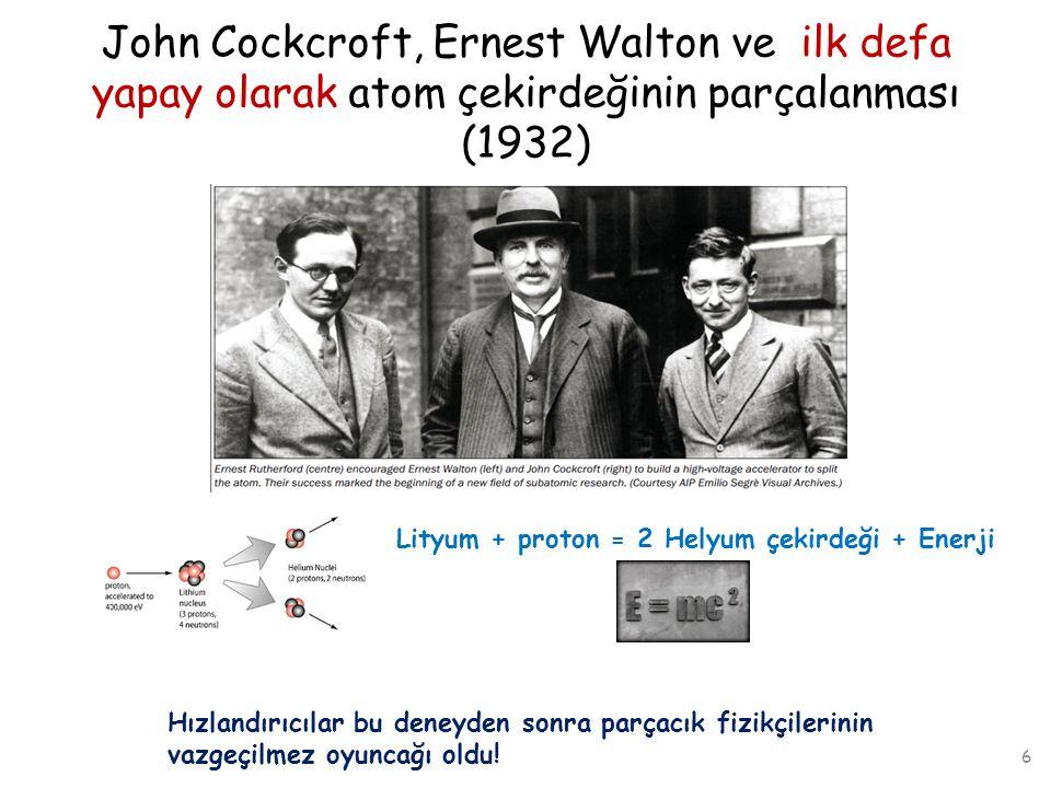 John Cockcroft, Ernest Walton ve ilk defa yapay olarak atom çekirdeğinin parçalanması (1932) Lityum + proton = 2 Helyum çekirdeği + Enerji 6 Hızlandır