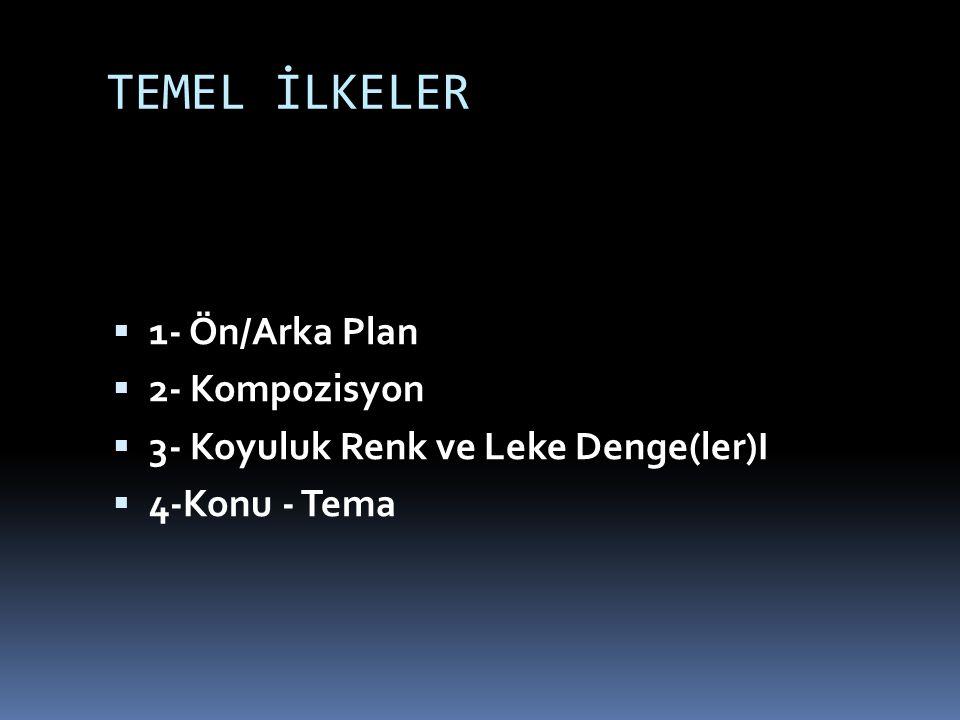 TEMEL İLKELER  1- Ön/Arka Plan  2- Kompozisyon  3- Koyuluk Renk ve Leke Denge(ler)I  4-Konu - Tema
