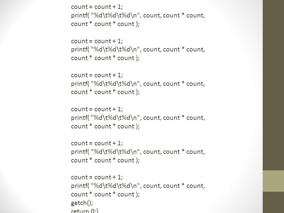 count = count + 1; printf( %d\t%d\t%d\n , count, count * count, count * count * count ); count = count + 1; printf( %d\t%d\t%d\n , count, count * count, count * count * count ); count = count + 1; printf( %d\t%d\t%d\n , count, count * count, count * count * count ); count = count + 1; printf( %d\t%d\t%d\n , count, count * count, count * count * count ); count = count + 1; printf( %d\t%d\t%d\n , count, count * count, count * count * count ); count = count + 1; printf( %d\t%d\t%d\n , count, count * count, count * count * count ); getch(); return 0;}