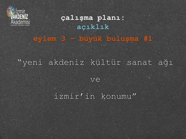 yeni akdeniz kültür sanat ağı ve izmir'in konumu yeni akdeniz kültür sanat ağı ve izmir'in konumu eylem 3 – büyük buluşma #1 çalışma planı: açıklık