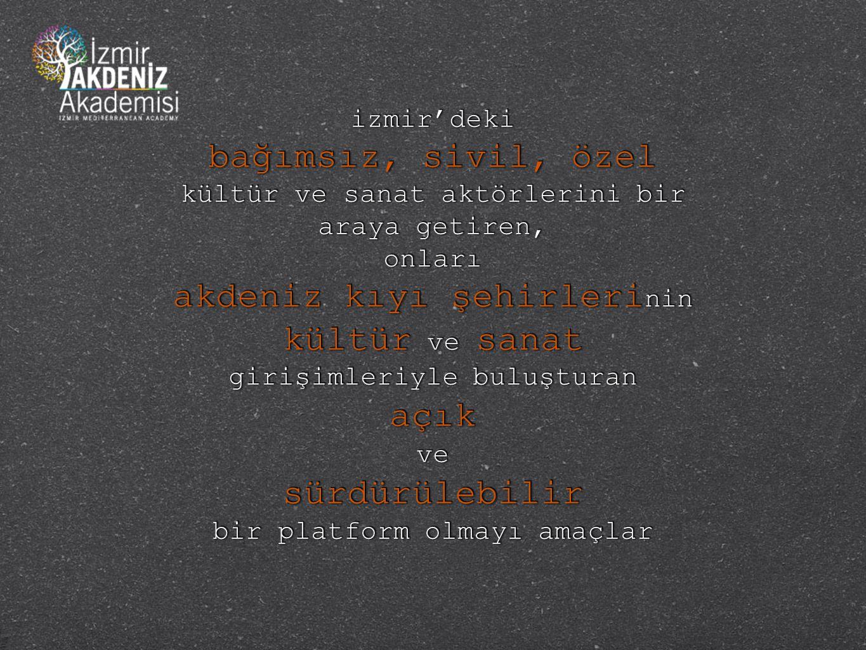 izmir'deki bağımsız, sivil, özel kültür ve sanat aktörlerini bir araya getiren, onları akdeniz kıyı şehirleri nin kültür ve sanat girişimleriyle buluş