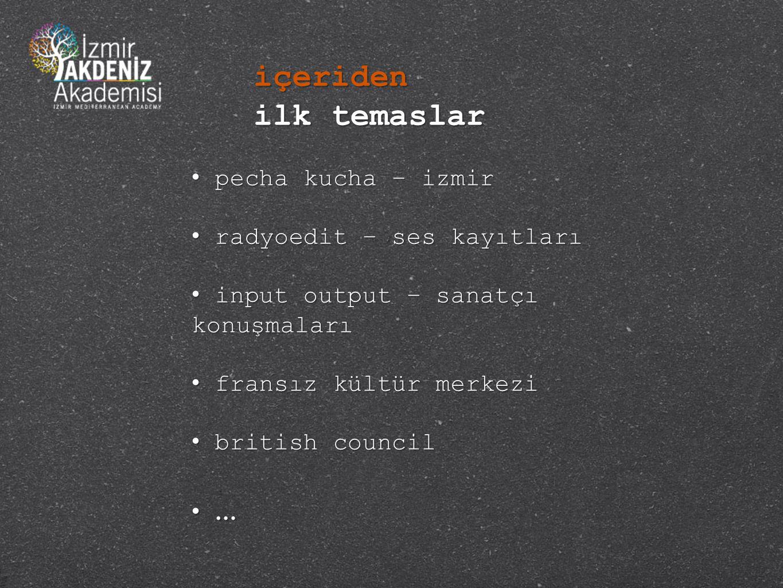 • pecha kucha – izmir • radyoedit – ses kayıtları • input output – sanatçı konuşmaları • fransız kültür merkezi • british council • … içeriden ilk temaslar