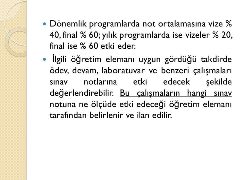  Dönemlik programlarda not ortalamasına vize % 40, final % 60; yılık programlarda ise vizeler % 20, final ise % 60 etki eder.  İ lgili ö ğ retim ele