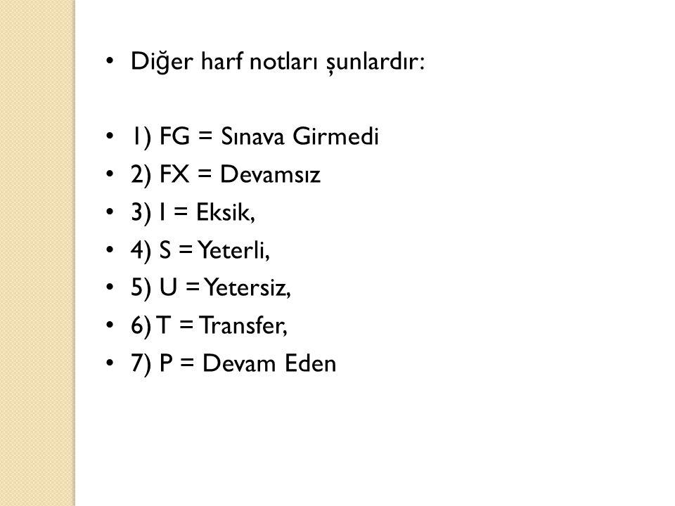 • Di ğ er harf notları şunlardır: • 1) FG = Sınava Girmedi • 2) FX = Devamsız • 3) I = Eksik, • 4) S = Yeterli, • 5) U = Yetersiz, • 6) T = Transfer,