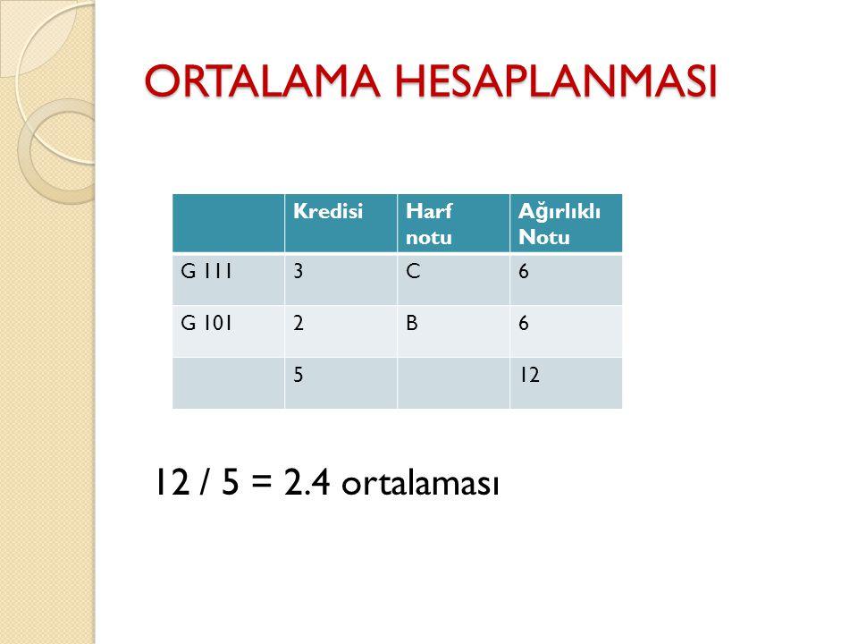 ORTALAMA HESAPLANMASI 12 / 5 = 2.4 ortalaması KredisiHarf notu A ğ ırlıklı Notu G 1113C6 G 1012B6 512