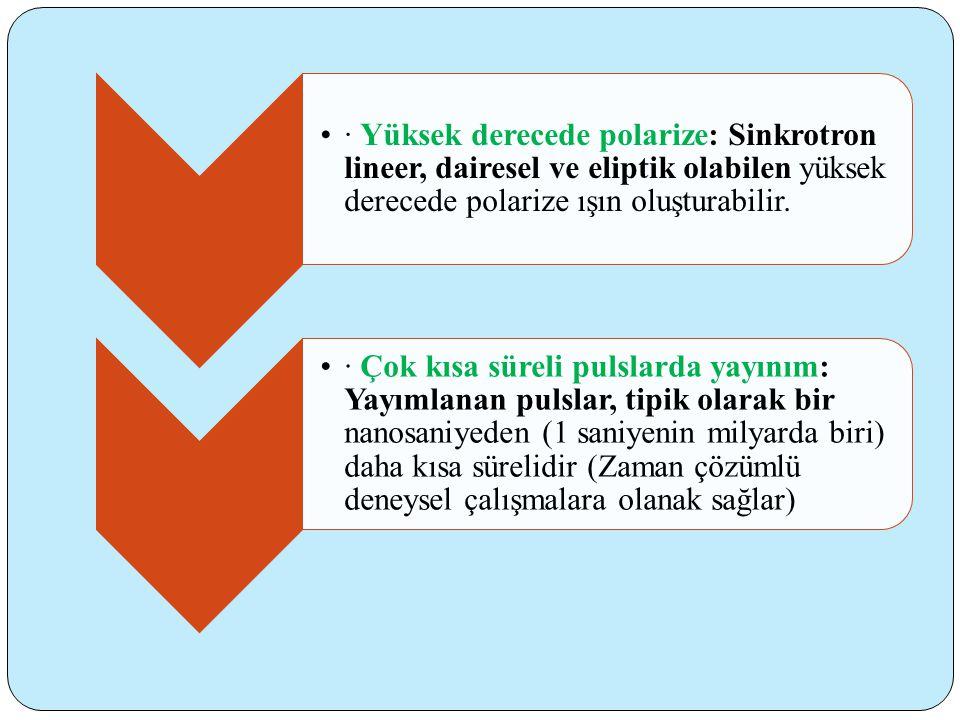 •· Yüksek derecede polarize: Sinkrotron lineer, dairesel ve eliptik olabilen yüksek derecede polarize ışın oluşturabilir.