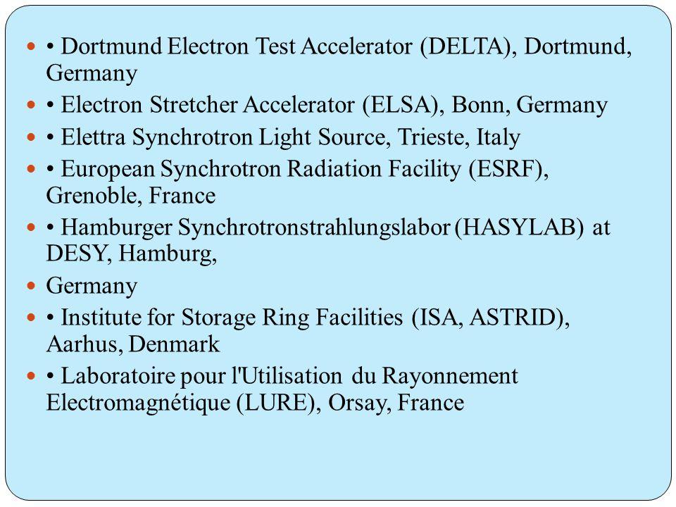  • Dortmund Electron Test Accelerator (DELTA), Dortmund, Germany  • Electron Stretcher Accelerator (ELSA), Bonn, Germany  • Elettra Synchrotron Light Source, Trieste, Italy  • European Synchrotron Radiation Facility (ESRF), Grenoble, France  • Hamburger Synchrotronstrahlungslabor (HASYLAB) at DESY, Hamburg,  Germany  • Institute for Storage Ring Facilities (ISA, ASTRID), Aarhus, Denmark  • Laboratoire pour l Utilisation du Rayonnement Electromagnétique (LURE), Orsay, France
