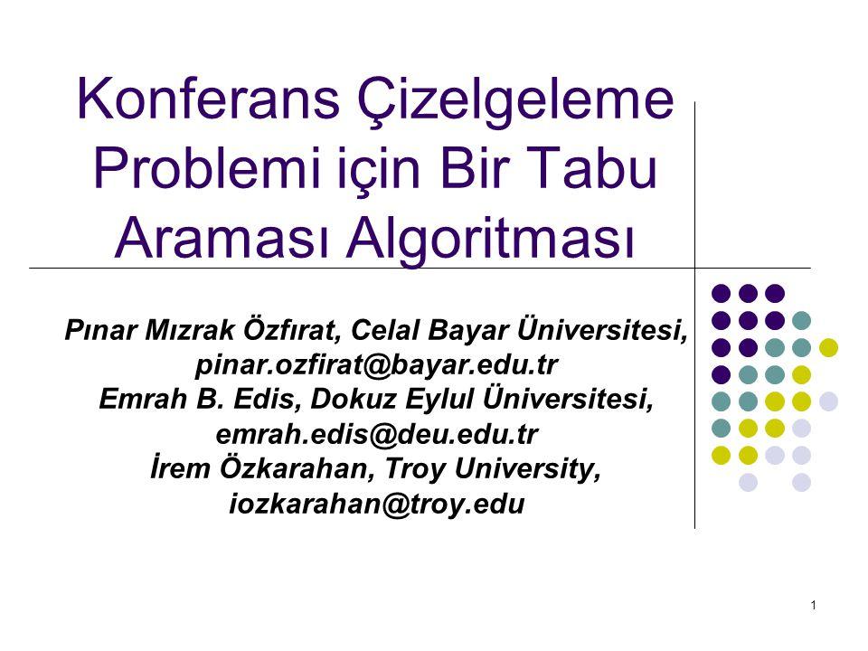 1 Konferans Çizelgeleme Problemi için Bir Tabu Araması Algoritması Pınar Mızrak Özfırat, Celal Bayar Üniversitesi, pinar.ozfirat@bayar.edu.tr Emrah B.