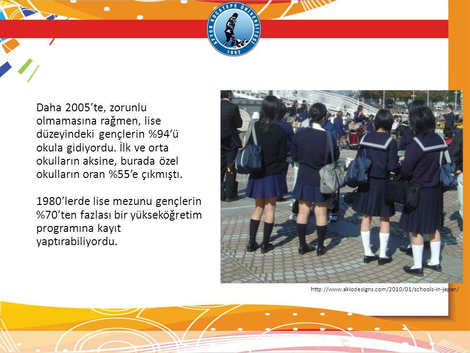 Daha 2005'te, zorunlu olmamasına rağmen, lise düzeyindeki gençlerin %94'ü okula gidiyordu. İlk ve orta okulların aksine, burada özel okulların oran %5