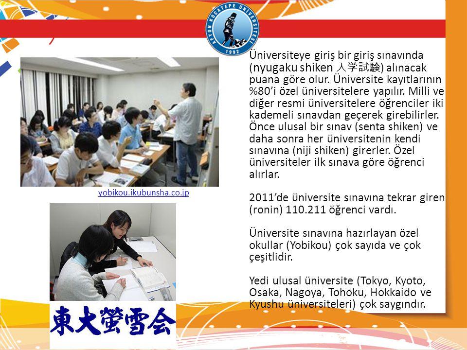 Üniversiteye giriş bir giriş sınavında ( nyugaku shiken 入学試験 ) alınacak puana göre olur. Üniversite kayıtlarının %80'i özel üniversitelere yapılır. Mi
