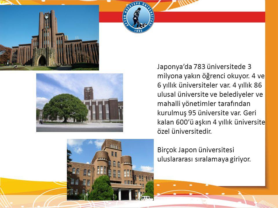 Japonya'da 783 üniversitede 3 milyona yakın öğrenci okuyor. 4 ve 6 yıllık üniversiteler var. 4 yıllık 86 ulusal üniversite ve belediyeler ve mahalli y