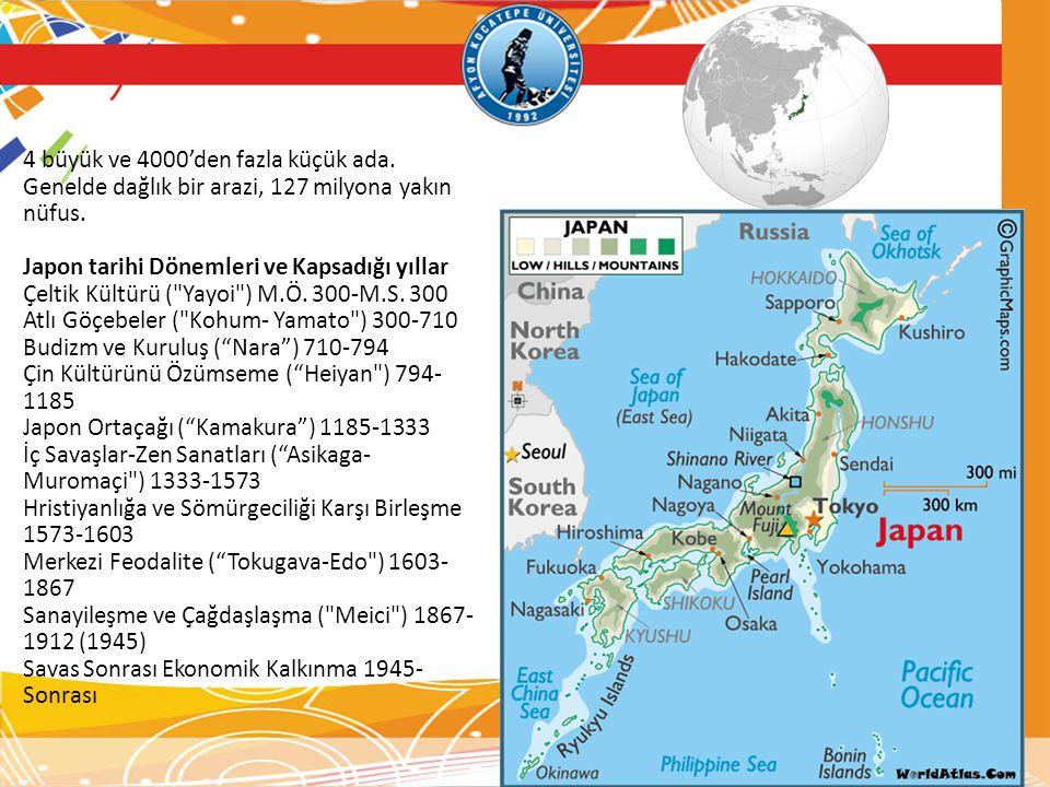 4 büyük ve 4000'den fazla küçük ada. Genelde dağlık bir arazi, 127 milyona yakın nüfus. Japon tarihi Dönemleri ve Kapsadığı yıllar Çeltik Kültürü (
