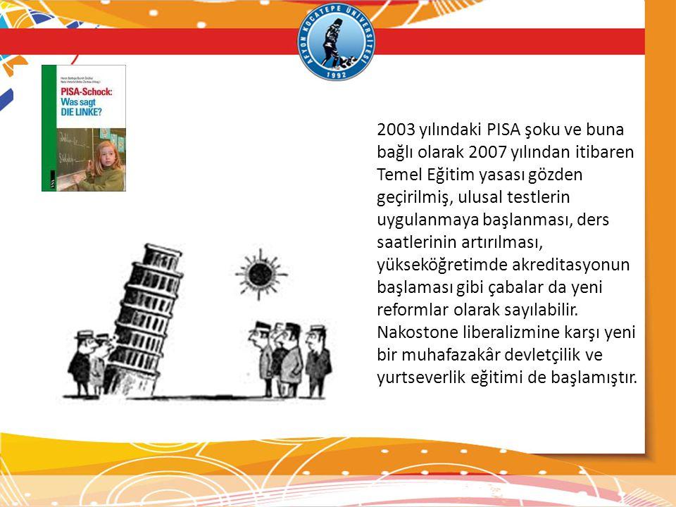 2003 yılındaki PISA şoku ve buna bağlı olarak 2007 yılından itibaren Temel Eğitim yasası gözden geçirilmiş, ulusal testlerin uygulanmaya başlanması, d