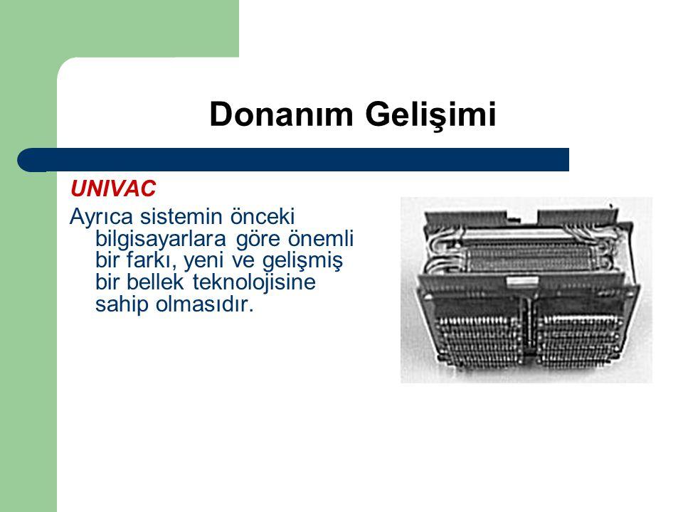 Donanım Gelişimi UNIVAC Ayrıca sistemin önceki bilgisayarlara göre önemli bir farkı, yeni ve gelişmiş bir bellek teknolojisine sahip olmasıdır.
