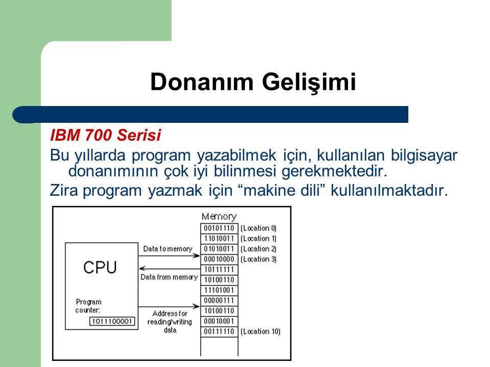 Donanım Gelişimi IBM 700 Serisi Bu yıllarda program yazabilmek için, kullanılan bilgisayar donanımının çok iyi bilinmesi gerekmektedir. Zira program y