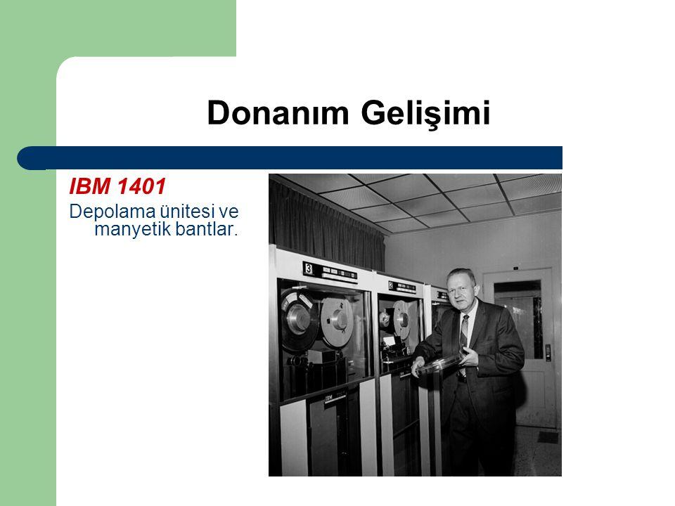 Donanım Gelişimi IBM 1401 Depolama ünitesi ve manyetik bantlar.