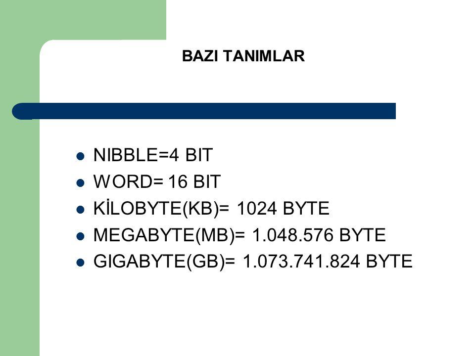 BAZI TANIMLAR  NIBBLE=4 BIT  WORD= 16 BIT  KİLOBYTE(KB)= 1024 BYTE  MEGABYTE(MB)= 1.048.576 BYTE  GIGABYTE(GB)= 1.073.741.824 BYTE