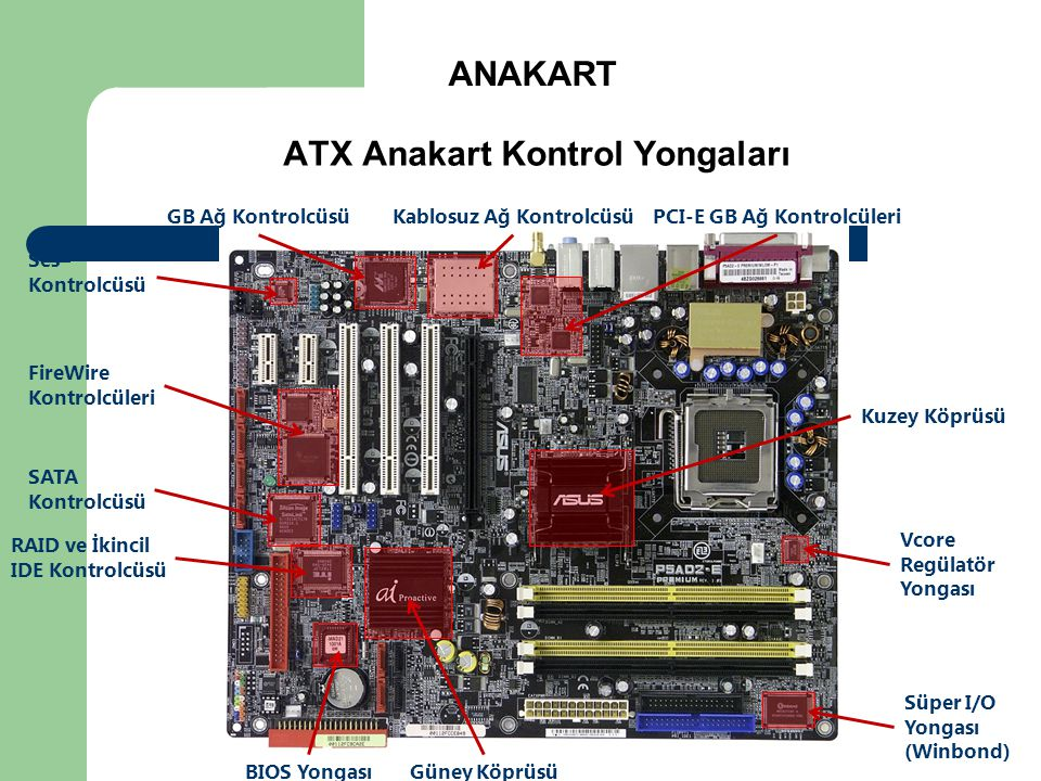 ANAKART ATX Anakart Kontrol Yongaları Kuzey Köprüsü Güney Köprüsü BIOS Yongası Süper I/O Yongası (Winbond) RAID ve İkincil IDE Kontrolcüsü SATA Kontro