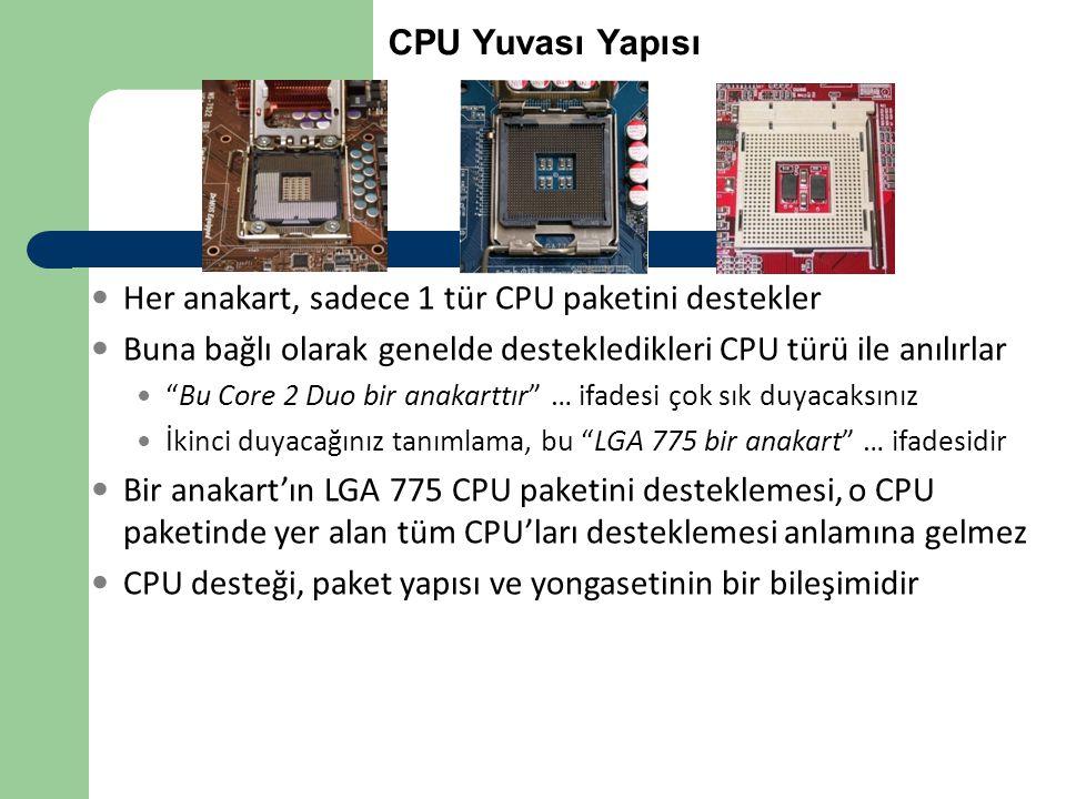 """CPU Yuvası Yapısı  Her anakart, sadece 1 tür CPU paketini destekler  Buna bağlı olarak genelde destekledikleri CPU türü ile anılırlar  """"Bu Core 2 D"""