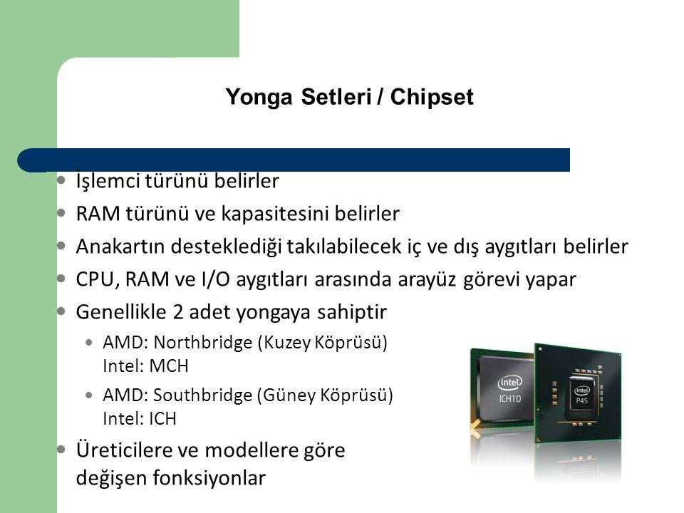 Yonga Setleri / Chipset  İşlemci türünü belirler  RAM türünü ve kapasitesini belirler  Anakartın desteklediği takılabilecek iç ve dış aygıtları bel