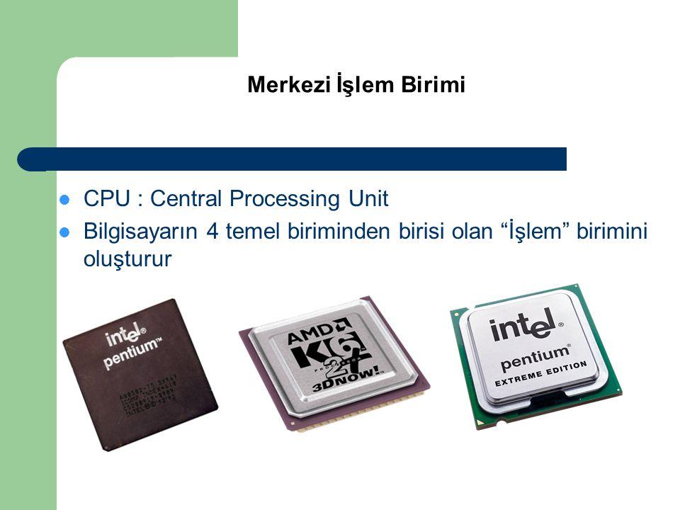 """ CPU : Central Processing Unit  Bilgisayarın 4 temel biriminden birisi olan """"İşlem"""" birimini oluşturur Merkezi İşlem Birimi"""