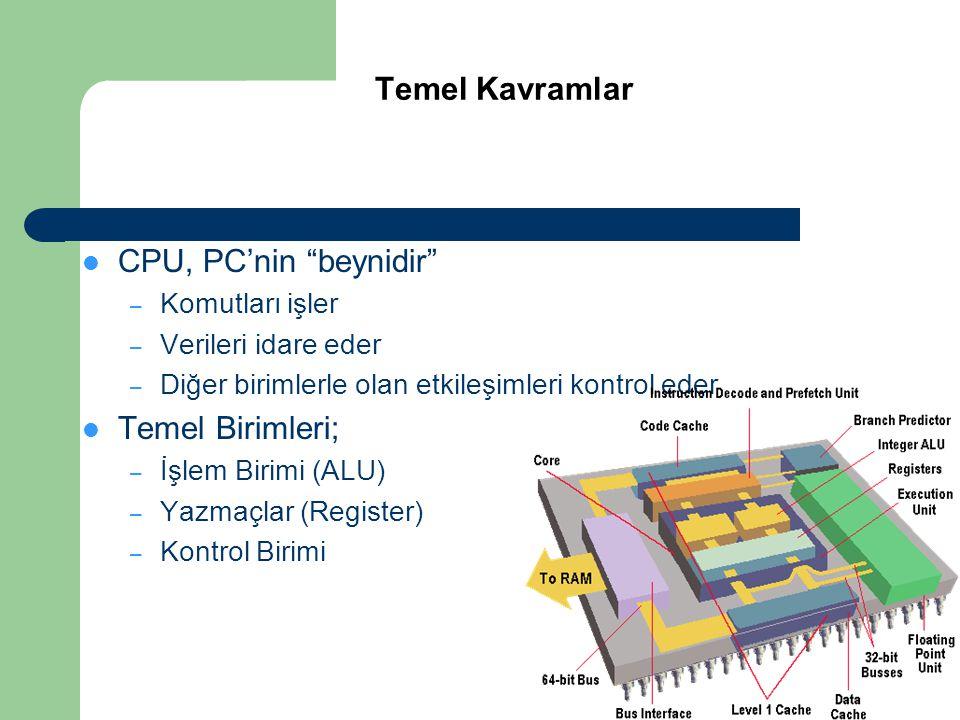 """ CPU, PC'nin """"beynidir"""" – Komutları işler – Verileri idare eder – Diğer birimlerle olan etkileşimleri kontrol eder  Temel Birimleri; – İşlem Birimi"""