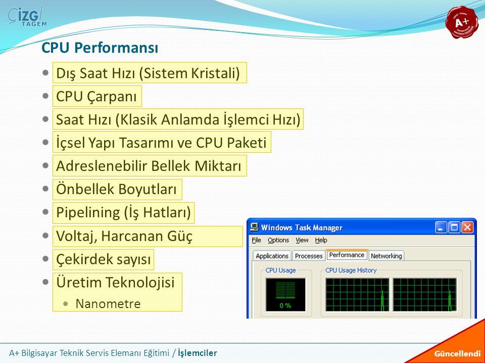 A+ Bilgisayar Teknik Servis Elemanı Eğitimi / İşlemciler  Dış Saat Hızı (Sistem Kristali)  CPU Çarpanı  Saat Hızı (Klasik Anlamda İşlemci Hızı)  İ