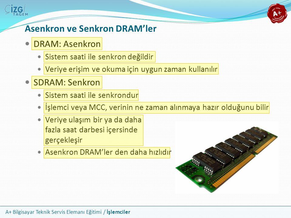 A+ Bilgisayar Teknik Servis Elemanı Eğitimi / İşlemciler  DRAM: Asenkron  Sistem saati ile senkron değildir  Veriye erişim ve okuma için uygun zama
