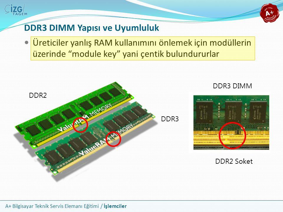 A+ Bilgisayar Teknik Servis Elemanı Eğitimi / İşlemciler DDR3 DIMM Yapısı ve Uyumluluk  Üreticiler yanlış RAM kullanımını önlemek için modüllerin üze