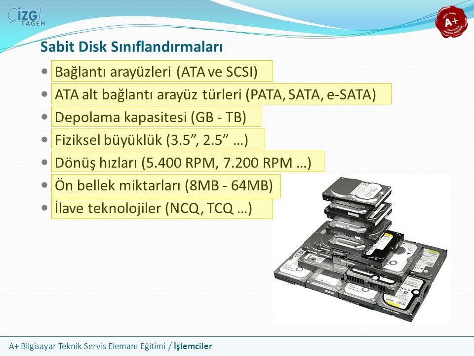 A+ Bilgisayar Teknik Servis Elemanı Eğitimi / İşlemciler  Bağlantı arayüzleri (ATA ve SCSI)  ATA alt bağlantı arayüz türleri (PATA, SATA, e-SATA) 