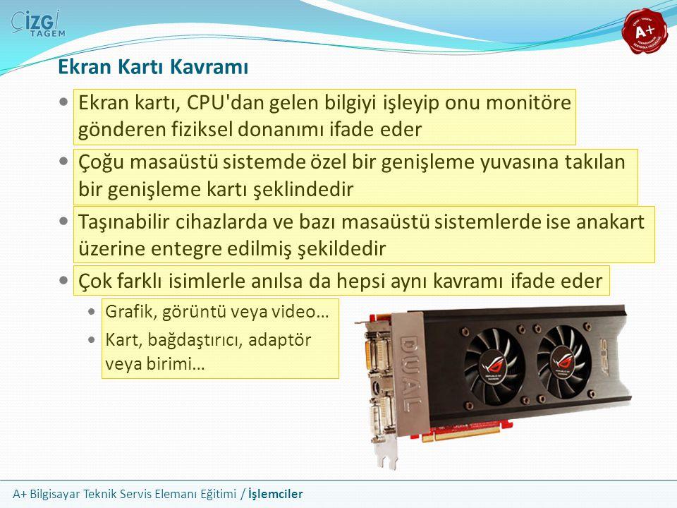 A+ Bilgisayar Teknik Servis Elemanı Eğitimi / İşlemciler Ekran Kartı Kavramı  Ekran kartı, CPU'dan gelen bilgiyi işleyip onu monitöre gönderen fiziks