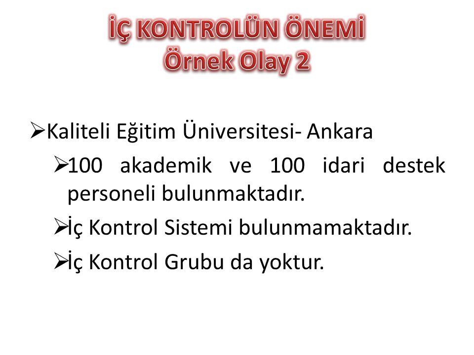  Kaliteli Eğitim Üniversitesi- Ankara  100 akademik ve 100 idari destek personeli bulunmaktadır.  İç Kontrol Sistemi bulunmamaktadır.  İç Kontrol