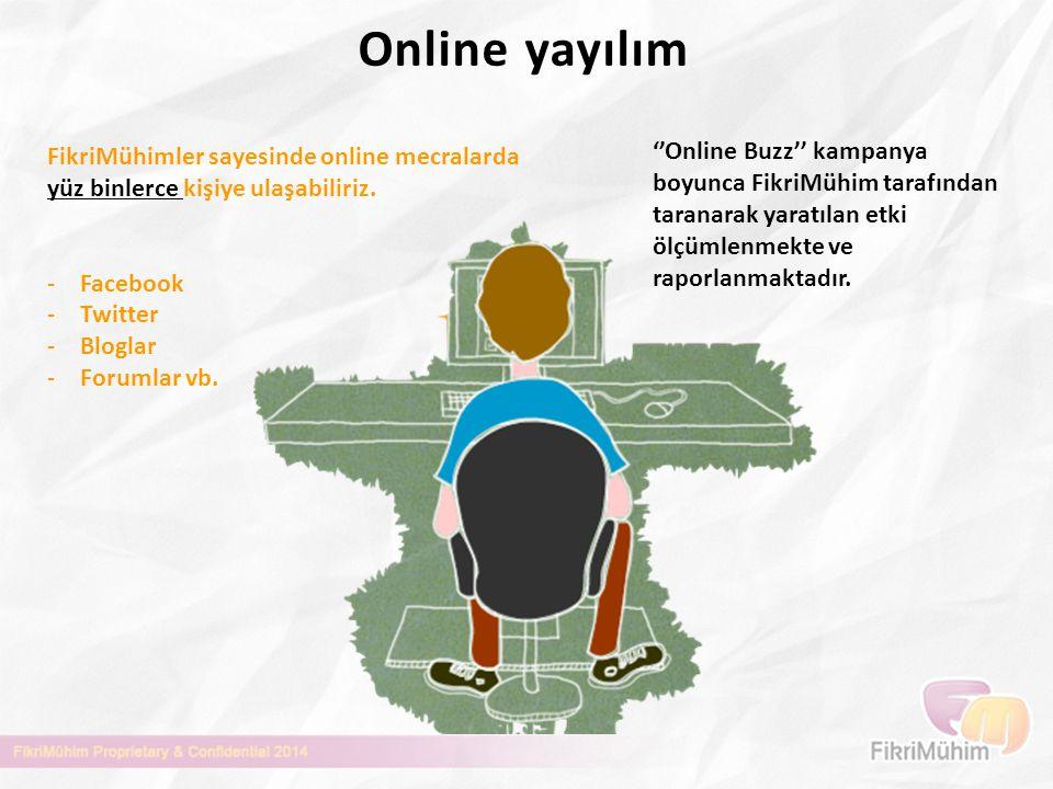 Online yayılım FikriMühimler sayesinde online mecralarda yüz binlerce kişiye ulaşabiliriz. -Facebook -Twitter -Bloglar -Forumlar vb. ''Online Buzz'' k