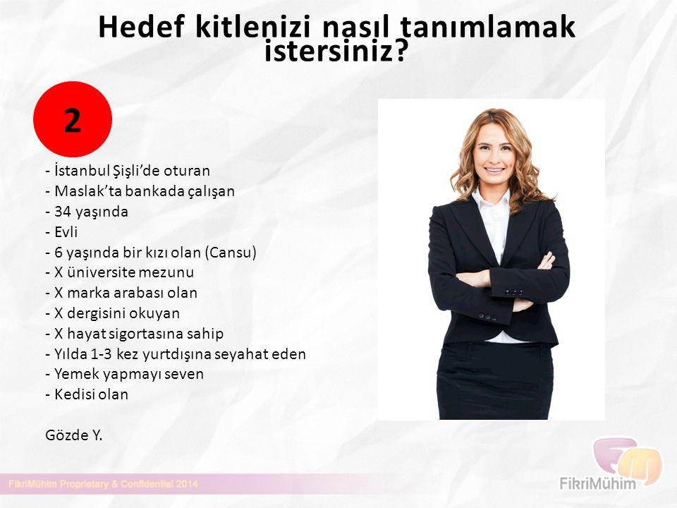 Hedef kitlenizi nasıl tanımlamak istersiniz? - İstanbul Şişli'de oturan - Maslak'ta bankada çalışan - 34 yaşında - Evli - 6 yaşında bir kızı olan (Can